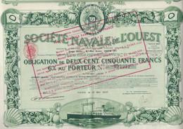 SOCIETE NAVALE DE L'OUEST - OBLIGATION DE 250 FRANCS -ANNEE 1923 - Navy