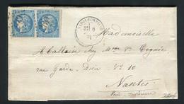 Rare Lettre En Double Port De Napoléonville Pour Nantes ( 1871 ) Avec Une Paire De N° 46B - 1870 Bordeaux Printing
