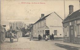D60 - ETOUY - LA ROUTE DE CLERMONT - Café/Restaurant Maison BOURDON Fils-Plusieurs Personnes-Charrette Avec Cheval-Chien - Autres Communes