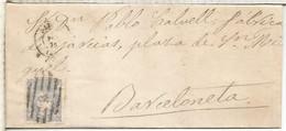 ISABEL II ENVUELTA DE ALICANTE A BARCELONETA BARCELONA 1870 PARRILLA NUMERADA 9 - Cartas