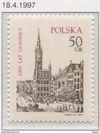 Poland 1997, Mi 3640, 1000 Years Of Gdansk, City, Town Hall, Architecture **MNH - Denkmäler