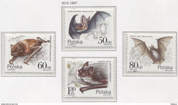 Poland 1997, Mi 3656-9 Environment Protection - Bats, Animals, Mammals, Full Set  **MNH - Fledermäuse