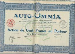 AUTO-OMNIA - ACTION DE CENT FRANCS - ANNEE 1928 - Cars