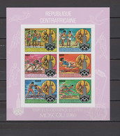 Central Africa 1981 Olympic Games Moscow, Space Sheetlet With Winners Overprint In Red Imperf. MNH -scarce- - Summer 1980: Moscow