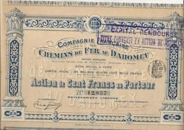 COMPAGNIE FRANCAISE DE CHEMINS DE FER AU DAHOMEY - ACTION DE CENT FRANCS -ANNEE 1912 - Railway & Tramway
