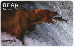 NEW ZEALAND NOUVELLE-ZÉLANDE NEUSEELAND NZ TELECOM 5$ ALASKA BROWN BEAR FISHING FISH CHIP PHONECARD TELECARTE PERFECT - Nuova Zelanda