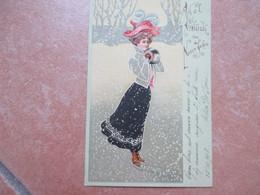 Donnine Woman Pattini Ghiaccio Neve Stampa Rilievo Viel Gluck  Neuen Jahre - 1900-1949