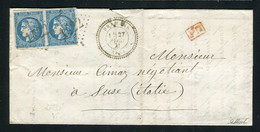 Rare Lettre De Bramans Pour Susse ( Italie 1871 ) Avec Une Paire De N° 46B - Cachet GC 1422 - 1849-1876: Classic Period
