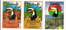 """3 Etiquettes Punch """" Tchenbé Rèd """"  Au Rhum Agricole De GUYANE -  Bois Bandé,cacahuète, Coco - 35 Cl   - Toukan - - Rhum"""