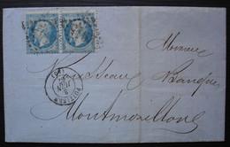 Poitiers 1867, Lettre Pour Montmorillon Affranchie Avec Une Paire Du N°22 - 1849-1876: Periodo Clásico