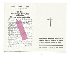 DD 229. JEAN-JOSEPH SMOLDERS  Echtg. L. Hauben - °TONGEREN 1894 En Aldaar + 1969 - Devotion Images