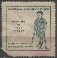 Universal Children DAY 1958 Pakistan Council For Child Welfare / Charity Label Vignette Cinderella - Crutch Disabled Boy - Pakistan