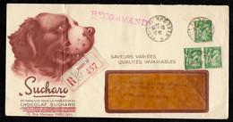 Rare 1940 Lettre à En-tête Publicitaire Illustrée CHOCOLAT SUCHARD Recommandée Type Iris PARIS XI St Saint-Bernard - France
