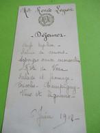 Menu Ancien   /Déjeuner / Mademoiselle Renée LEGROS/1912   MENU306 - Menú