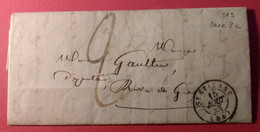 Lettre 15 Aout 1844 - St Etienne à Rive De Gier  - TAD Type 15 - Port Du - Taxe Manuscrite 2c - Arrivée TAD Type 13 - 1801-1848: Precursores XIX