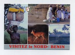 CP Multivues Utilisée. Visitez Le Nord-Bénin (ex-Dahomey). Femme Seins Nus, Cases, Cervidé, Scène Traditionnelle... - Benin