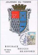 Roubaix (59) - Journée Du Timbre (18-03-1972) - Bruges - Bradford (Recto-Verso) - Briefe U. Dokumente