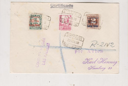 SPAIN 1938 Registered Cover To Germany - 1931-50 Lettres