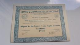 GRAND CASINO DES SABLES D'OLONNE (1941) - Actions & Titres