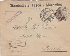RACCOMANDATA 1914 C.40 TIMBRO MAROSTICA VICENZA PERETOLA  (ZX1274 - Marcophilia
