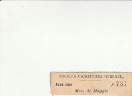 SOCIETA' CANOTTIERI FIRENZE INGRESSO MESE DI MAGGIO 1938 (ZX1325 - Tickets - Vouchers