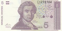 BANCONOTA 5 DINARI CROAZIA UNC (ZX1427 - Kroatien