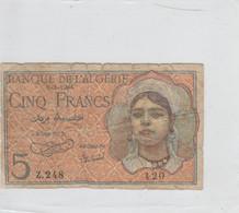 BANCONOTA ALGERIA 5 FRANCHI F (ZX1455 - Algeria