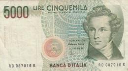 BANCONOTA LIRE 5000 ITALIA BELLINI VF (ZX1460 - 5000 Lire