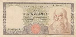 BANCONOTA 50000 LEONARDO 1970 ITALIA EF (ZX1467 - 50000 Lire
