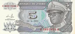 BANCONOTA ZAIRE 1993 5 UNC (ZX1471 - Zaire