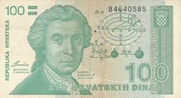 BANCONOTA 100 DINARA CROAZIA VF (ZX1489 - Kroatien