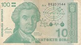 BANCONOTA 100 DINARA CROAZIA VF (ZX1491 - Kroatien
