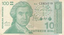 BANCONOTA 100 DINARA CROAZIA VF (ZX1492 - Kroatien
