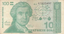BANCONOTA 100 DINARA CROAZIA VF (ZX1493 - Kroatien