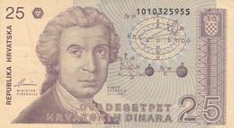 BANCONOTA 25 DINARA CROAZIA VF (ZX1495 - Kroatien
