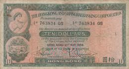 BANCONOTA 10 DOLLARI 1959 HONG KONG VF (ZX1629 - Hongkong
