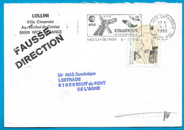 1988 Lettre FD Fausse Direction Transit Par 81 Rabastens Tarn - Marcophilie (Lettres)