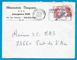"""1974 Lettre à En-tête """"Charcuterie Troyenne - Jean-Pierre FUIN"""" Rue Nationale 10 BAR-sur-AUBE - Marcophilie (Lettres)"""