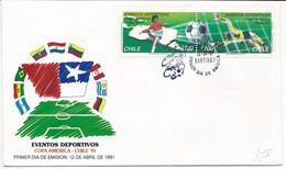Mi 1420-21 FDC / Soccer Football American Championships - 12 April 1991 - Chile