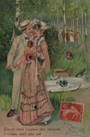 Quand Dans L'ombre Des Ramures... - Carte Gaufrée, Pierreries - Femmes