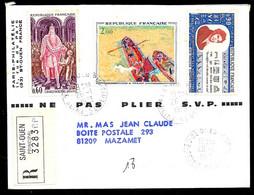 1973 Lettre Recommandée Avec Affranchissement Composé Déposée à 93 St Saint-Ouen Pour 81 Mazamet Tarn - Marcophilie (Lettres)