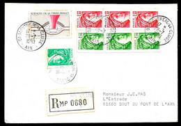 1980 Lettre Recommandée Avec Affranchissement Composé, Dont Roulettes, Déposée à 01 MONTREAL-La-CLUSE Ain - Marcophilie (Lettres)