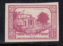 Comissio Oficial D'Ajunt A Euzkadi, 25 C. Violeta, (Al.191s,) SIN DENTAR. - Viñetas De La Guerra Civil