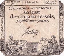 Assignat De Cinquante Sols - 23 Mai 1793 - L'an 2 De La République - Série 2331 - Signé SAUSSAY - Assignats
