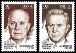 RUSSIA 2020 Stamp MNH ** VF Mi 2917-18 BARKOVSKY Barkovskiy FEKLISOV Intelligence RUSSIAN HERO 2694-95 - Nuevos