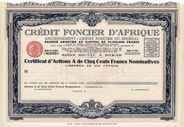 Titre Ancien - Crédit Foncier D'Afrique - Anciennement Crédit Foncier Du Sénégal - Société Anonyme - Titre De 1929 - - Bank & Insurance