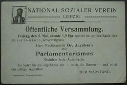 DR Ganzsache Mit Zudruck  - NATIONAL - SOZIALER VEREIN Leipzig- Gelaufen (1549) - Allemagne