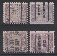 """USA....."""" 1922....""""........SCOTT 570.........4 DIFFERENT PRE-CANCEL....... - Usati"""