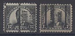 """USA....."""" 1925....""""........SCOTT  622......17c.........2  USED  PRE-CANCEL....... - Usati"""