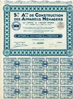 Titre Ancien - Société Anonyme De Construction Des Appareils Ménagers - Titre De 1930 - Industry